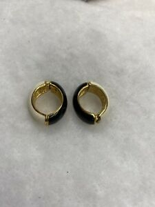 KJL Kenneth Jay Lane Signed Black & Cream Enamel Gold Tone Clip-On Hoop Earrings