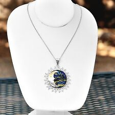 Artisan Sterling Silver Dichroic Glass Sun Moon Pendant from Taxco Mexico