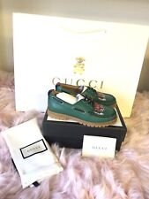 Brand New Gucci B Leather Green Loafers with Animal Print