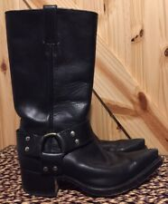 Tony Mora Motorcycle Cowboy Boots Womens 8 39 Black Leather Harness Heel Midcalf