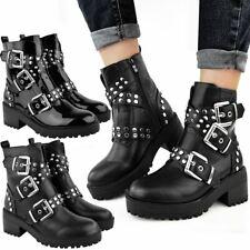 New Womens Ladies Chunky Black Ankle Boots Low Platform Heel Studded Biker Punk