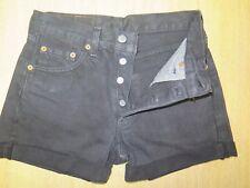 """+ + Vintage + + LEVI 501 Pantaloncini Di Jeans Nero taglia 8 W27"""" Vita Alta/tagliato"""