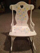 Child's White Wood Rocking Chair 