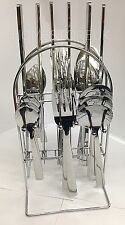 STAINLESS STEEL 24 PCS DINNER CUTLERY SET WITH HOLDER STAND RACK KITCHEN Y0194