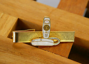 Telephone Tie Clasp Tack Corded Home House Phone Gold Tone Metal White