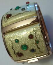 Vintage Glass Cabochon Copper Panel Bracelet UNIQUE Clamper DESIGNER Moghul