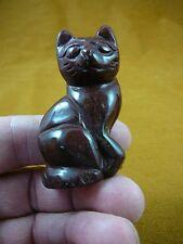 (Y-CAT-SIC-748) Red jasper KITTY CAT gemstone gem carving figurine I love cats