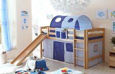 Lit mezzanine avec toboggan THEO R Hêtre massif tissus Bleu clair-Bleu foncé