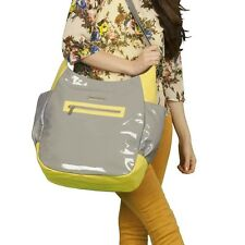 Adelina Madelina Fashionable Hobo Diaper Bag Yellow Citron/Slate Gray Nwt $79