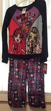 Monster-High-Girls-Size-L-10-12-Pajama-Set-Long-Sleeve-Pants-Multi-Color-Mattel
