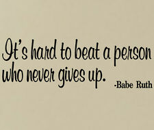 BABE RUTH VINYL WALL DECAL STICKERS #12 MURAL LETTERING QUOTE - BASEBALL GAMES