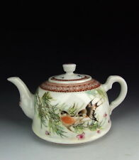 China Antiques QianJiang Colored Porcelain Tea Pot with flower&bird