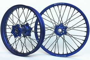 Wheel Set Yamaha YZ250F YZ450F 21/19 Fastuff Whoop Hoops Blue Rims Blue Hubs
