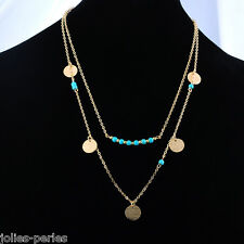 1PC Boho Women Golden Double Layer Necklace Turquoise Beads Round Paillette