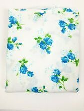 Vintage 1970's Dan River Double Flat Sheet BLUE Roses Soft Cotton