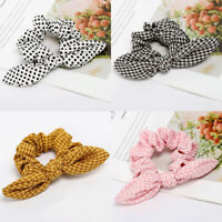 Rabbit Ear Scrunchie Elastic Ponytail Holder For Women Girl Rubber Band Hair Tie