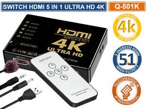 COMMUTATORE SWITCH HDMI 1.4B 5 INPUT 1 OUTPUT ULTRA HD 4K - FULL HD TELECOMANDO