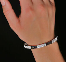 Sterling Silver Stamped Cubic Zirconia Stones Bars Linked Bracelet Stylish Piece