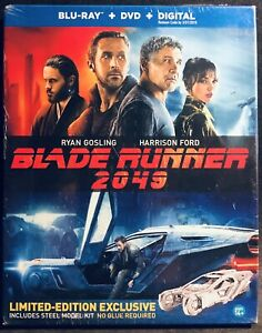 BLADE RUNNER 2049 - Blu-ray Disc + DVD + Digital + Spinner Steel Model Kit -RARE