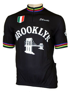 Radtrikot Brooklyn Retro schwarz kurzarm (auch Übergrößen bis 6XL)