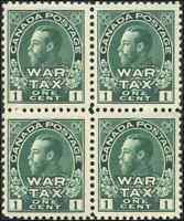 Canada #MR1 mint F-VF OG NH 1915 War Tax 1c green King George V Admiral BLK of 4