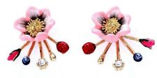 Les Nereides Light Pink Flower With Ladybug And Pearl Clasp Earring