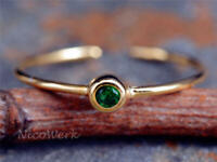 Silberring Schmal Vergoldet Mit stein Schlicht Grün Zirkonia Ring Silber 925