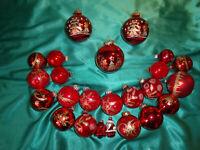~ Kunvolut 23 alte Weihnachtskugeln Christbaumkugeln Glas rot gold Vintage CBS