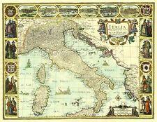 L'italie john vitesse 17c. old map full size copie imprimée une unique idée cadeau!