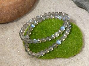 Labradorite Bracelet • AAA • Labradorite Stretch Bracelet • Gray Bracelet • 2839