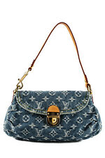 AUTH LOUIS VUITTON Blue Monogram Denim Mini Pleaty Handbag MHL BY3395