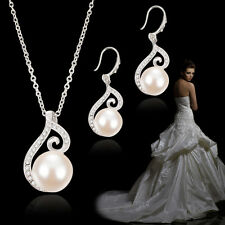 Damen Frau Kristall Strass Perlen Schmuck Set Halskette Ohrringe Braut Hochzeit
