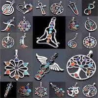 Necklace Charm Natural Gemstone Beads Reiki Chakra Healing Point Pendant  WT