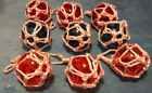 """GLASS FLOAT BALLS with roping/net reproductions, set of 9, Used, 3.5"""" diameter"""