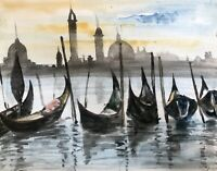 """ORIGINAL WATERCOLOUR SEASCAPE PAINTING OF """"PARKED BOATS IN VENICE"""" SIGNED"""
