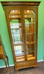 Ethan Allen Canterbury Oak Curio Cabinet 28-9410 Medium Oak 228
