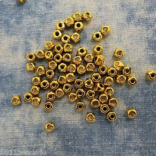 Antique Gold Alloy Metal Small Faceted Beads 50 Pieces 3mm  #0203