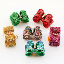 10pcs Bling Rhinestone Pet Dog Hair Bows W/Rubber band Hair Grooming Accessories