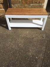 H50 x W100 x D30cm BESPOKE BENCH  WHITE WARM OAK WAXED TOP