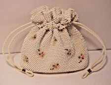 Vintage '50's? White Floral Corde Beaded Drawstring Bag Purse Reversible