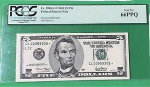 2001 $5 star note PcGs 66PPQ