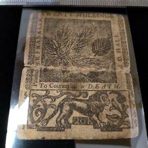 Delaware, June 1, 1759, 20 Shillings, Printed by Benjamin Franklin!