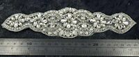 Diamante Applique Motif Crystal Patch Sew on Bridal Dress Belt, Hair Band D3