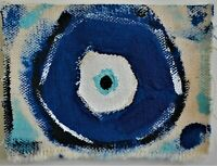 Original ACEO painting/Mataki/superstition/Greek Evil Eye/Superstition/Greek/eye
