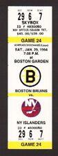 New York Islanders vs Boston Bruins 1993-94 Unused Full Hockey Ticket