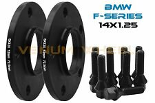 2 Pc Kit - 12mm Bmw F-Series Black Hub Centric Wheel Spacers  + 10 14x1.25 Bolts