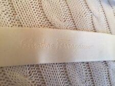 FERRAGAMO Cream Logo Satin Ribbon