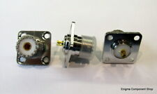 SO239 Chassis Socket Panel Mount 4-Hole Gold/ PTFE. UK Seller - Fast Dispatch.