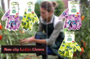 New 1 PAIR OF GREEN/PURPLE VARIABLE SIZE Non-slip Ladies Gloves Water Resistant