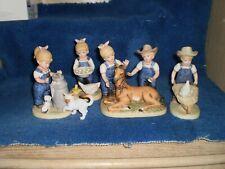 Homco Denim Days Vintage 1985 Porcelain Figurine The New Colt 1510 and friends